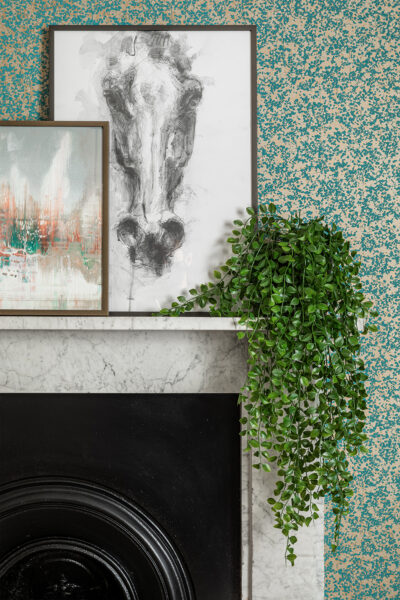 Interior design fireplace prints houseplant