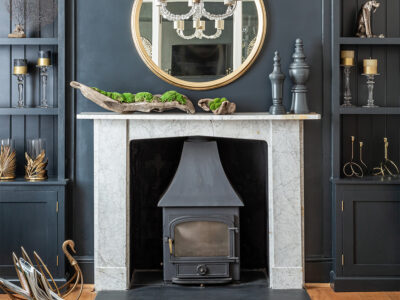 Interior design fireplace mirror light feature